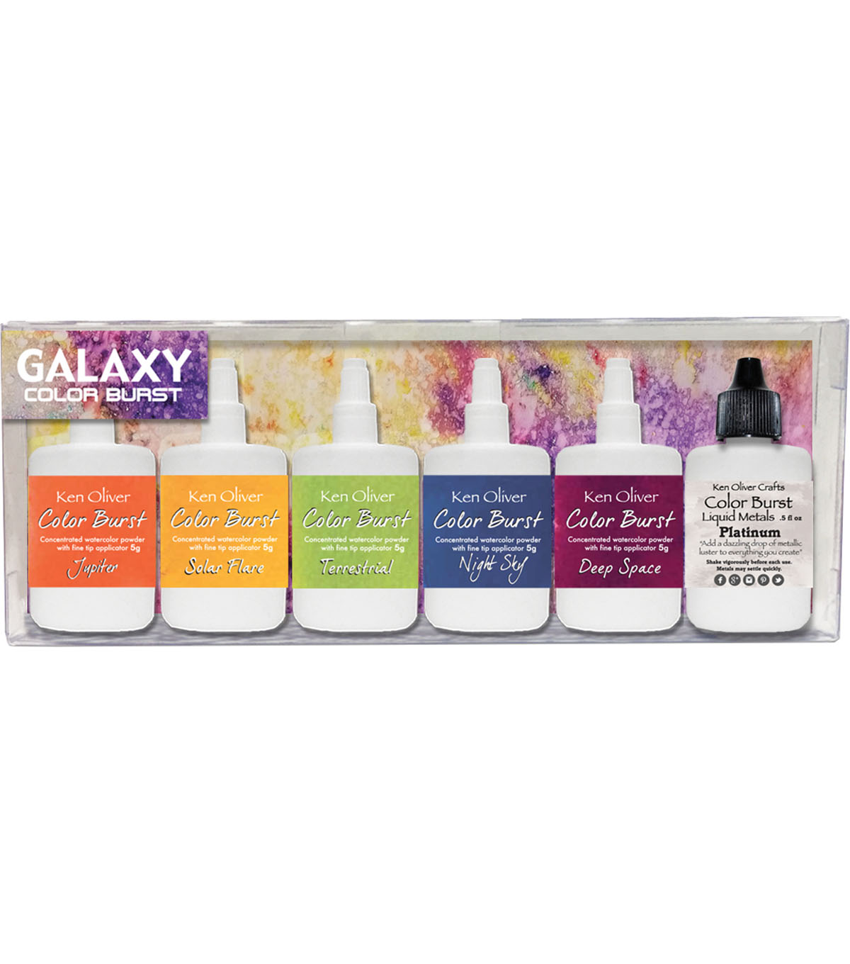 Ken Oliver Color Burst 5 pk Watercolor Powders with Liquid Metal-Galaxy