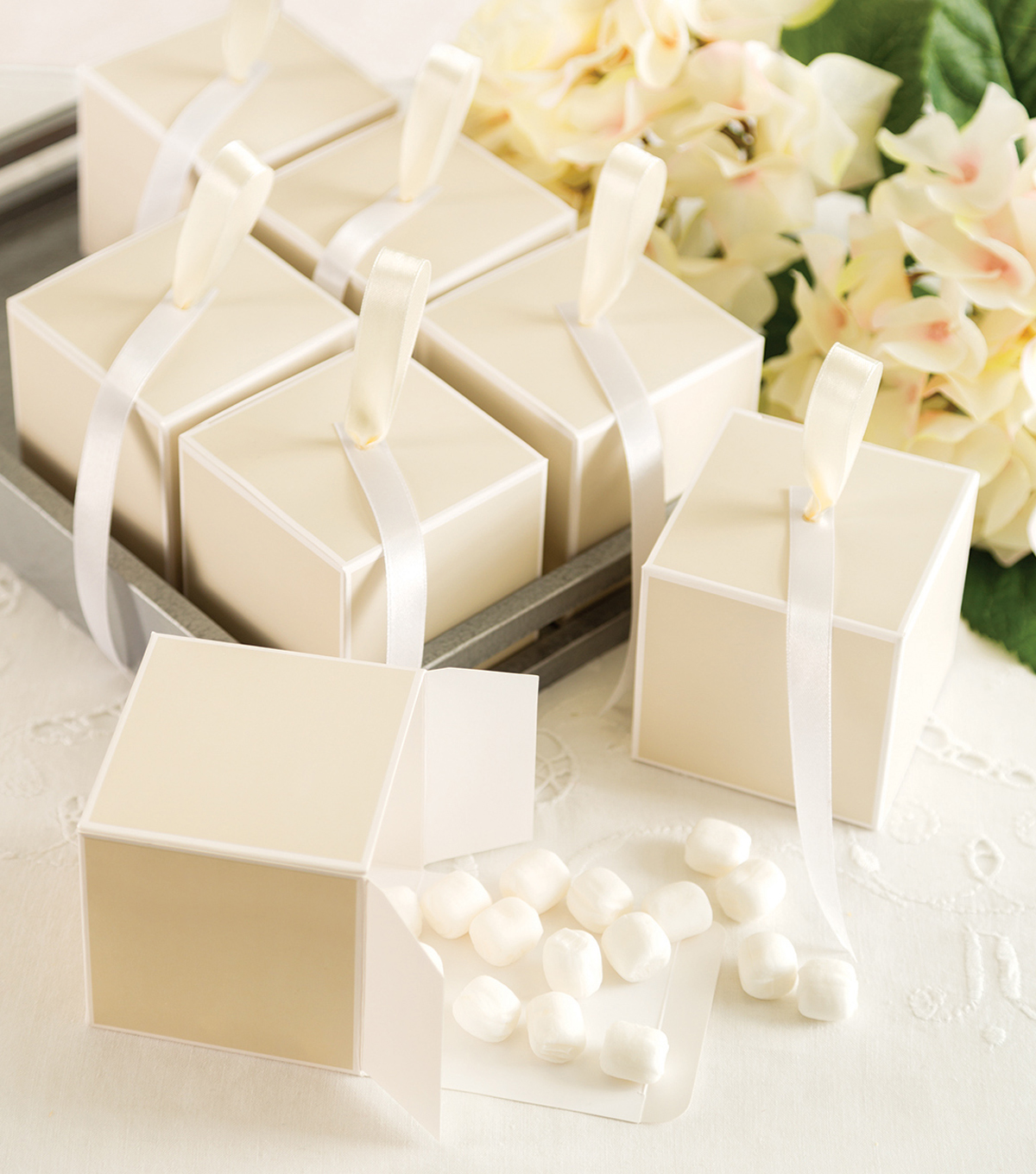 Save The Date Cube Favor Box-Ivory