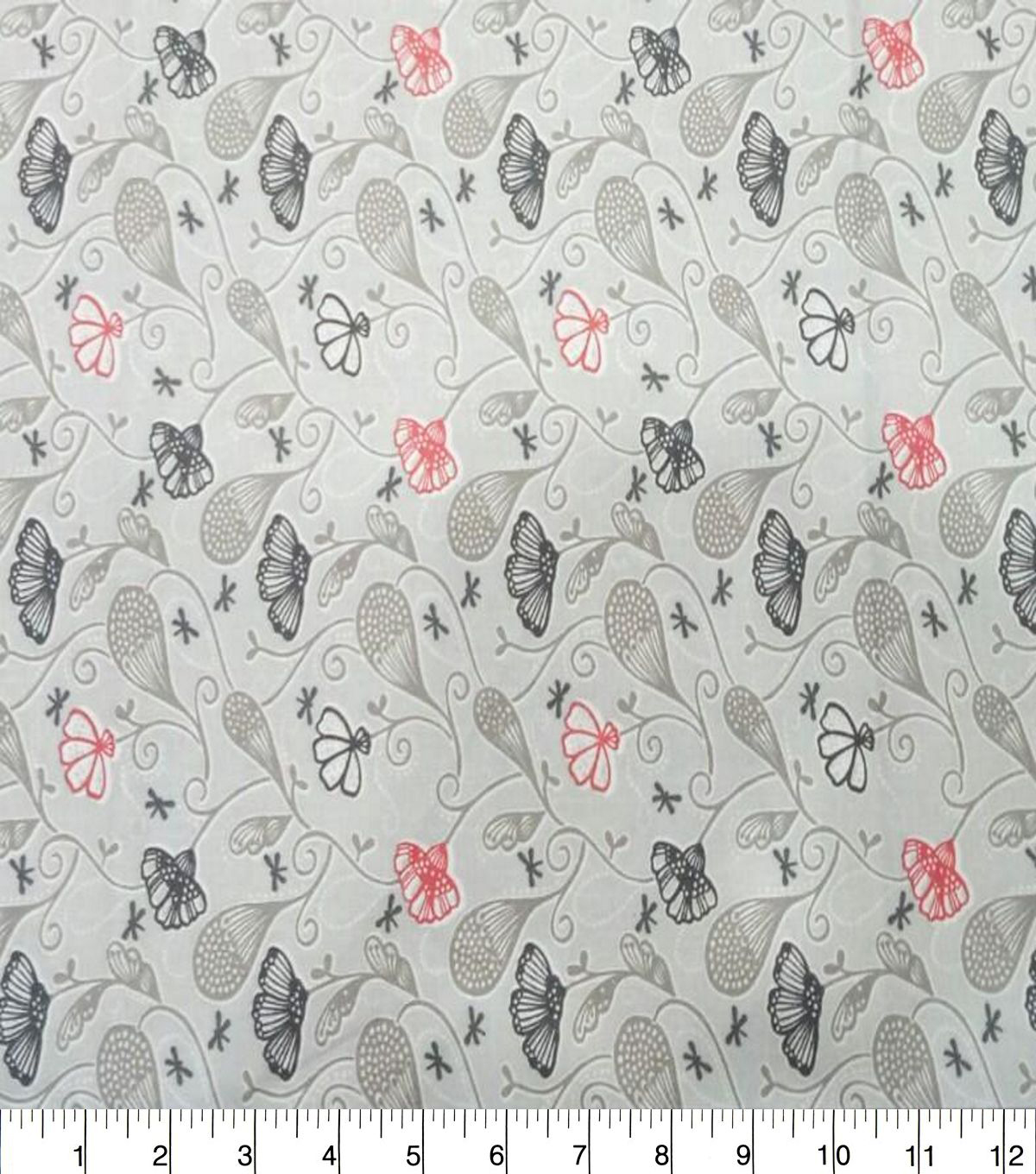 Quilter\u0027s Showcase Cotton Fabric-Dotted Floral Vines Gray Coral