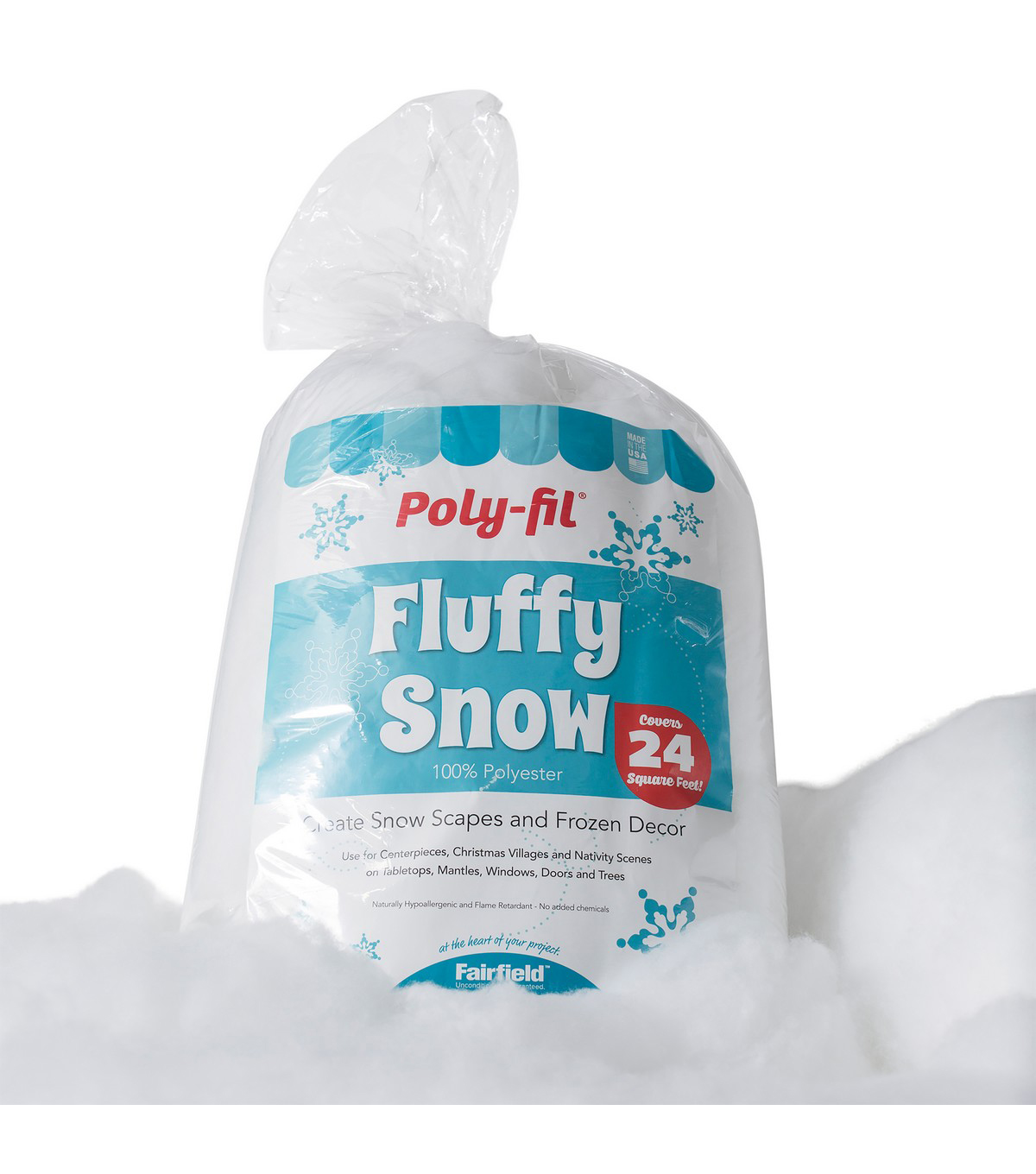Poly-Fil Fluffy Snow 24 oz. for DIY Snow Scapes