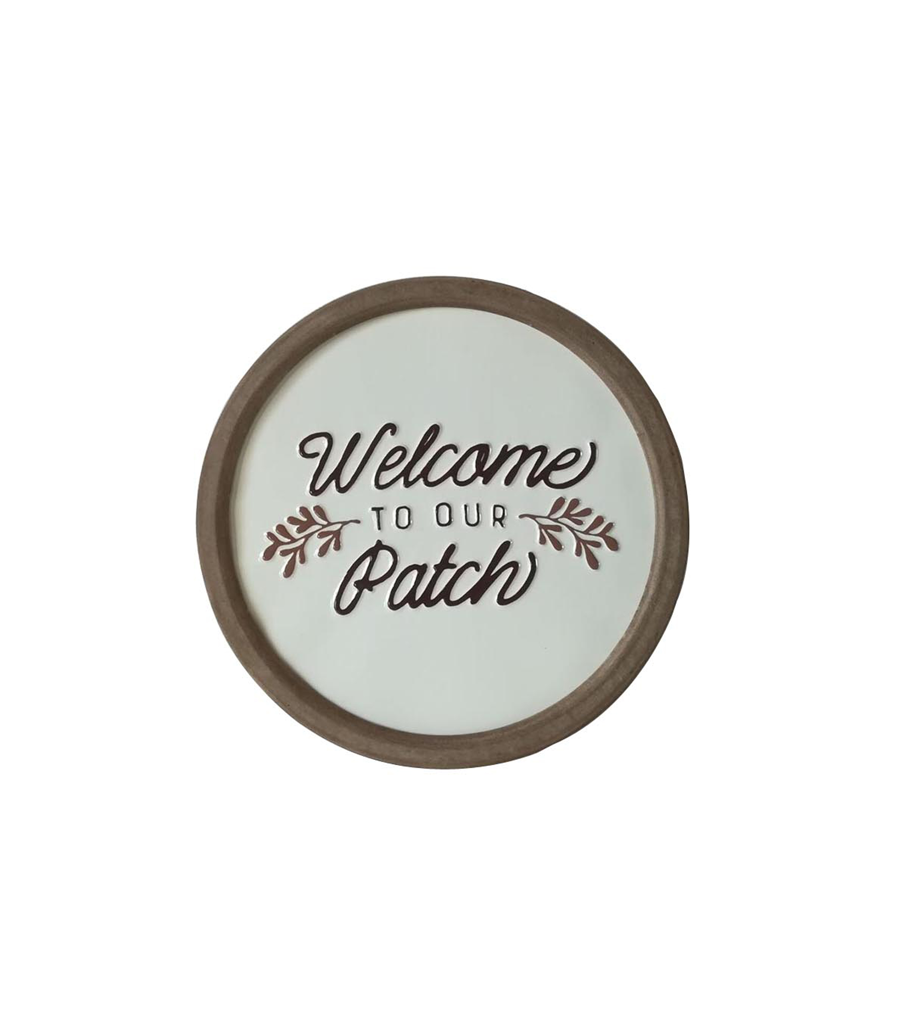 Simply Autumn Round Enamel Wall Decor-Welcome to Our Patch