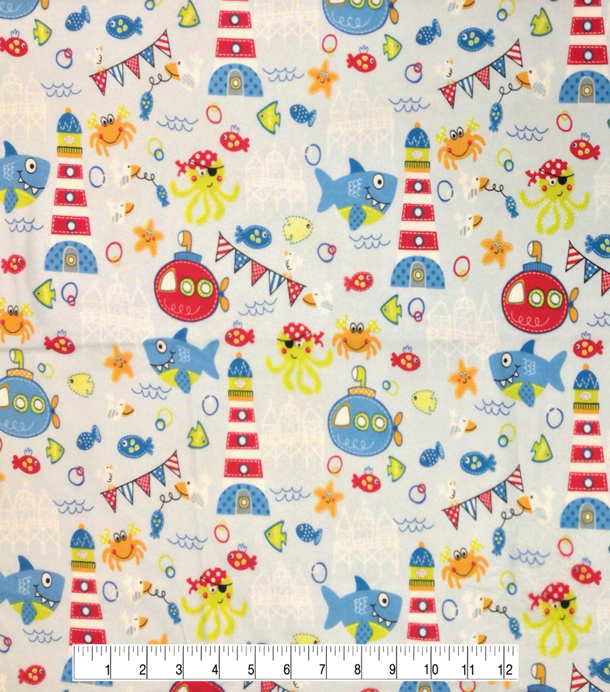 Snuggle Flannel Print Fabric 43\u0022-Shark Life Blue