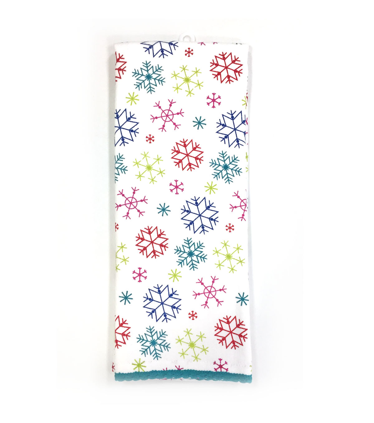 Maker\u0027s Holiday Christmas Ho Ho Ho Decor Kitchen Towel-Tossed Snowflakes