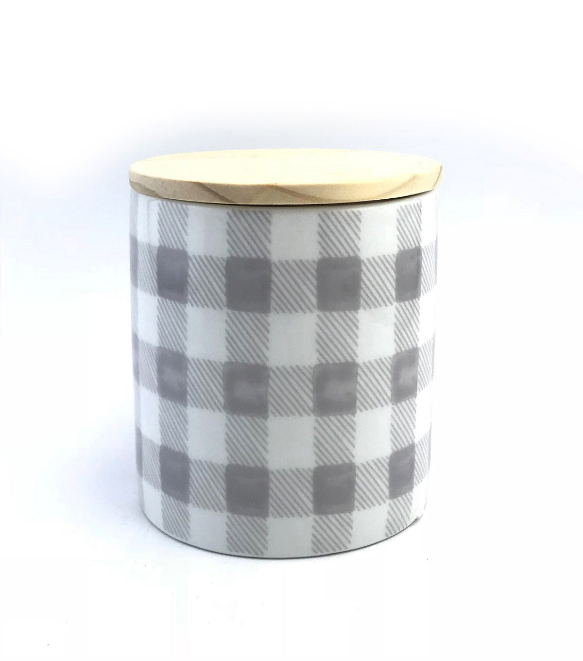 Simply Spring 15 oz. Jar Candle with Lid-Gray Plaid