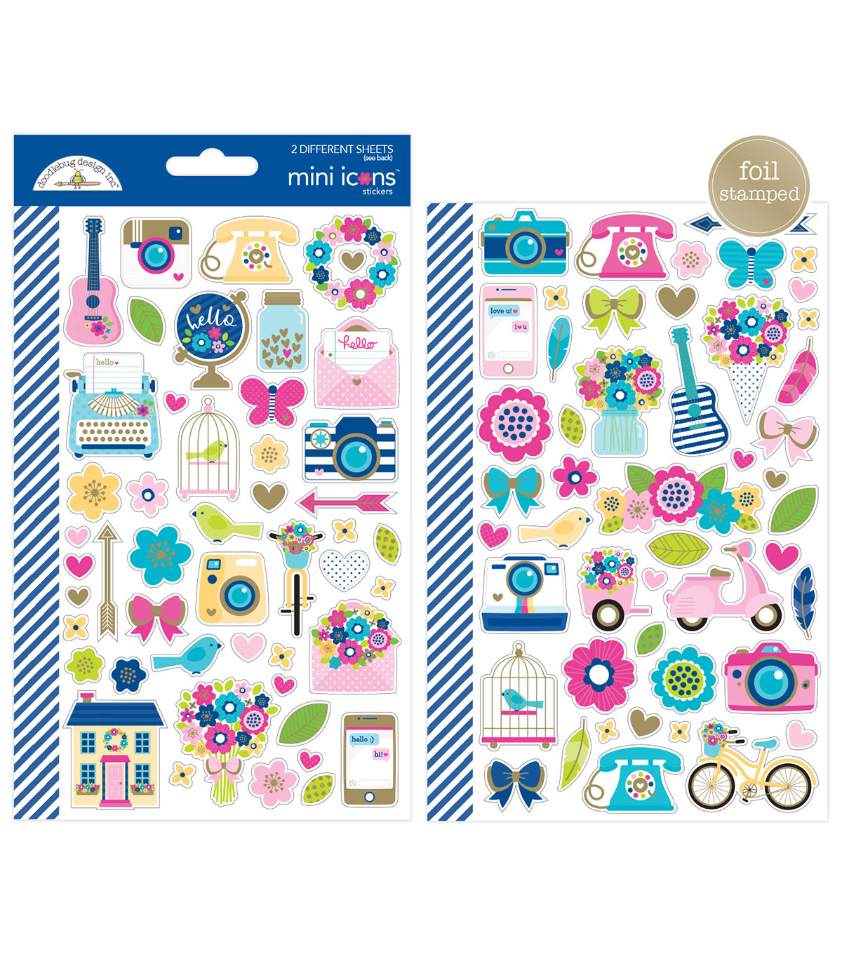 Doodlebug Design Hello Cardstock Stickers with Foil Accents-Mini Icons
