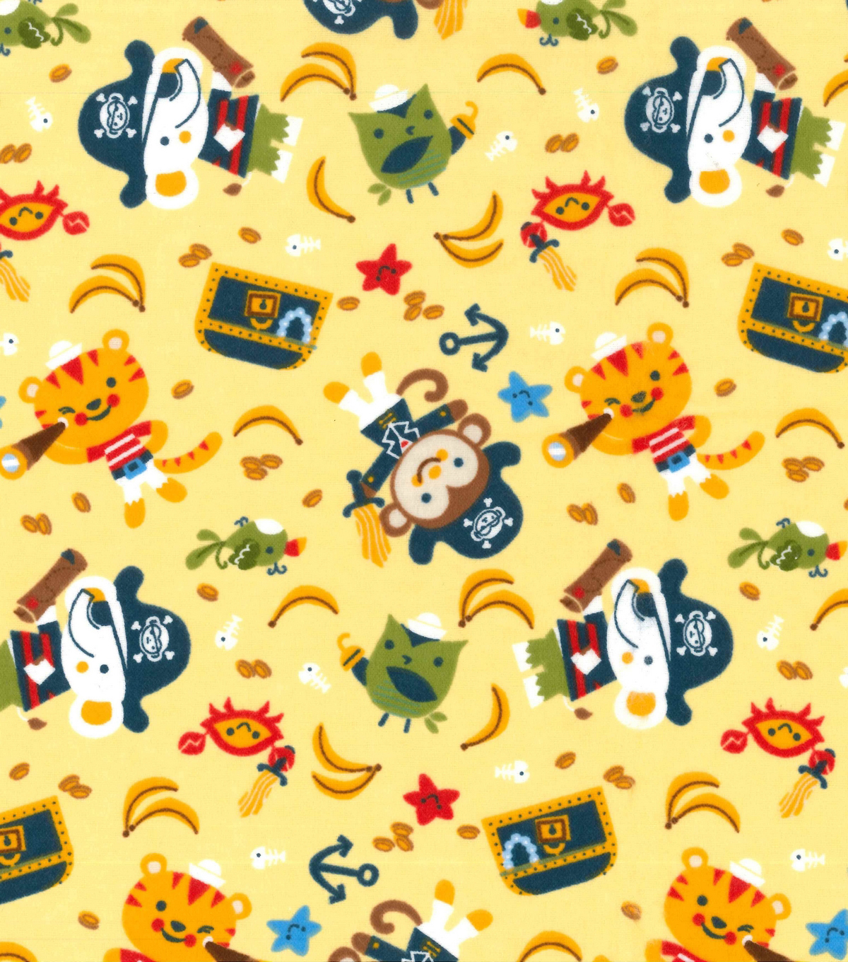 Snuggle Flannel Fabric -Captain Monkey