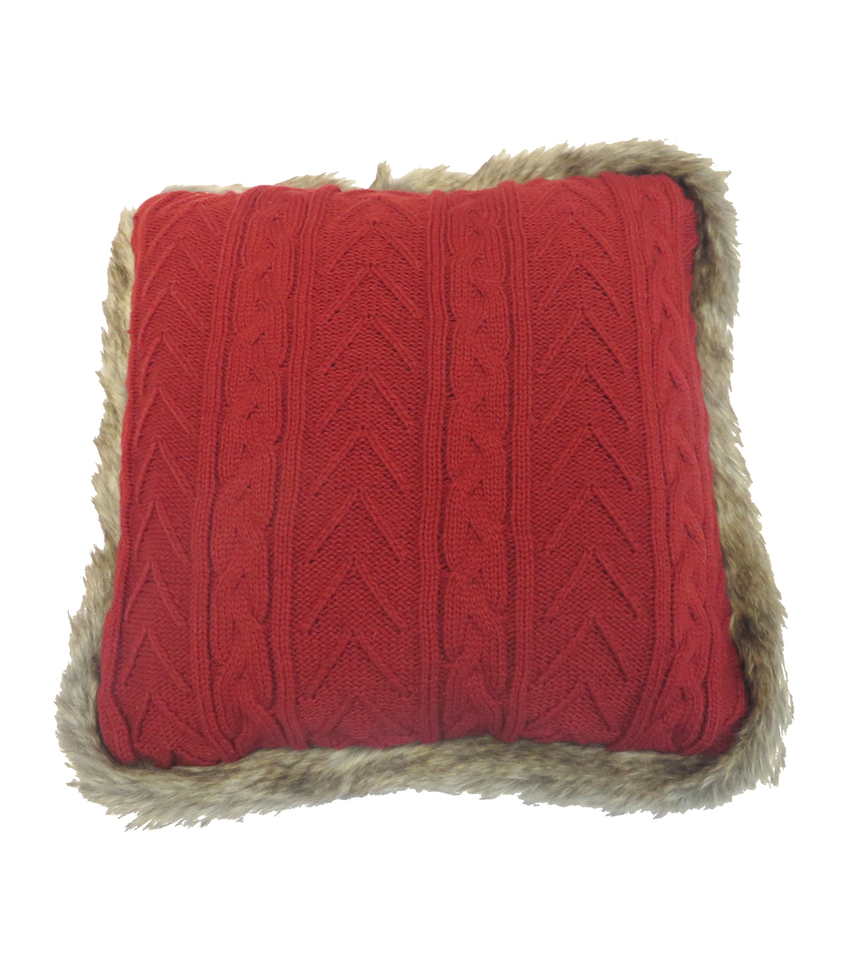 Maker\u0027s Holiday Christmas Knitting with Fur Piping Pillow