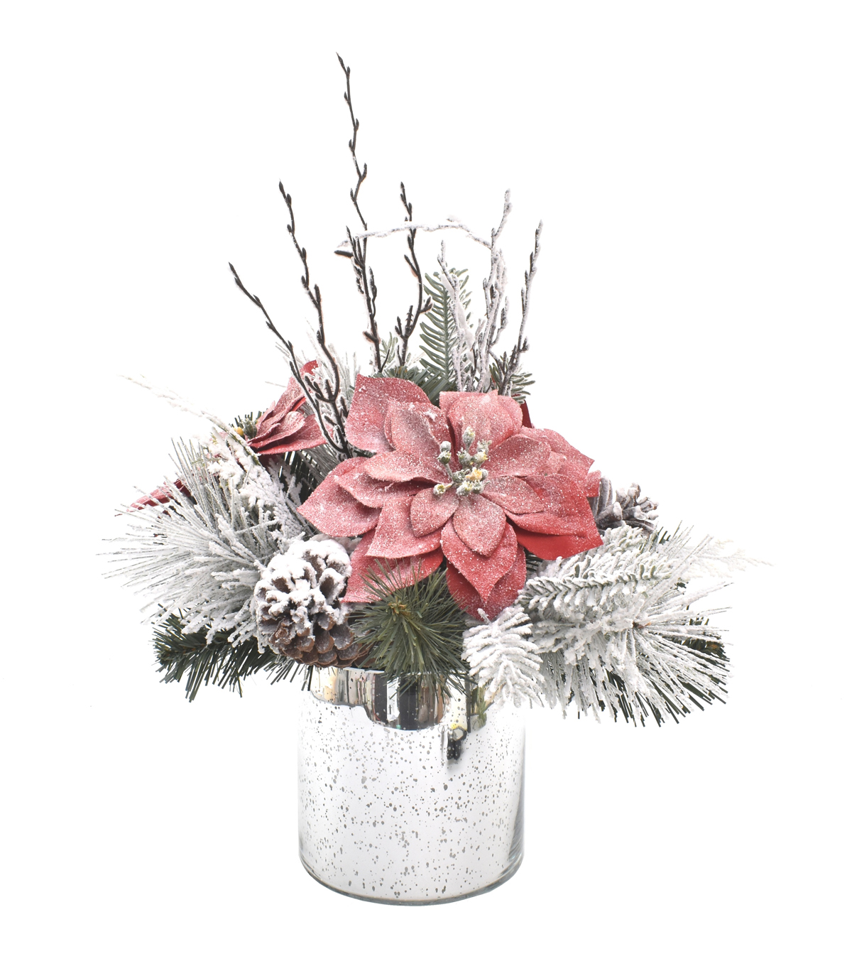 Blooming Holiday 13\u0027\u0027 Frosted Poinsettia & Pinecone Arrangement