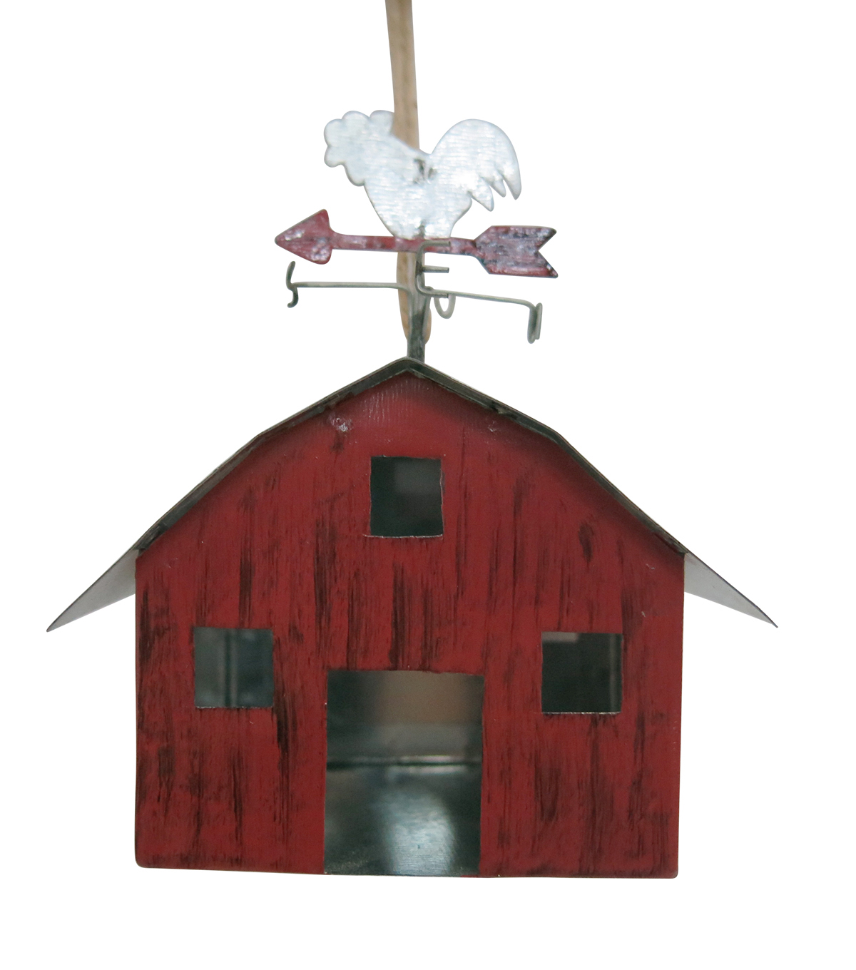 Maker\u0027s Holiday Christmas Woodland Lodge Galvanized Barn Ornament-Red