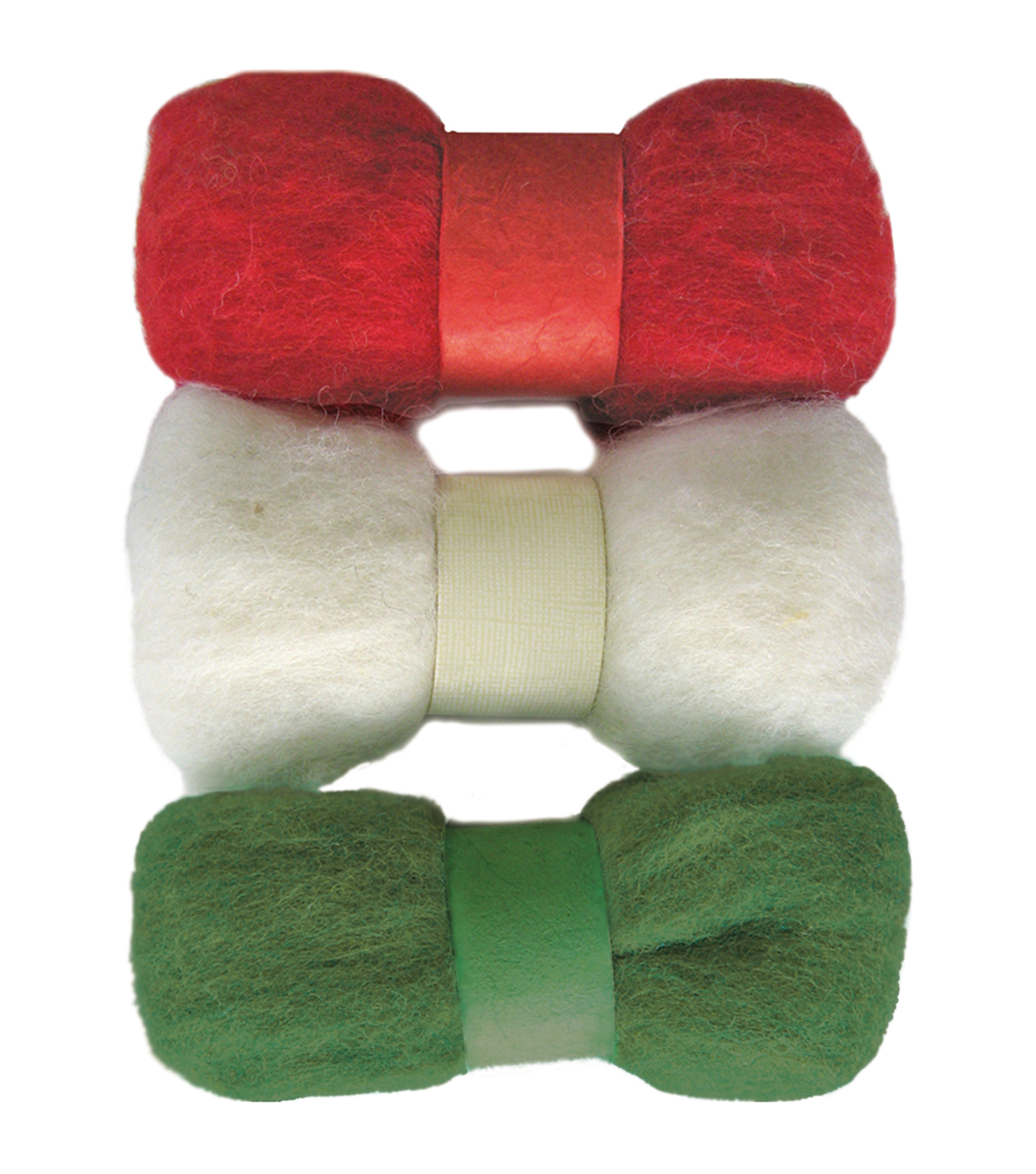 Feltworks Roving Trio Pack 1.58oz-Red, White & Green