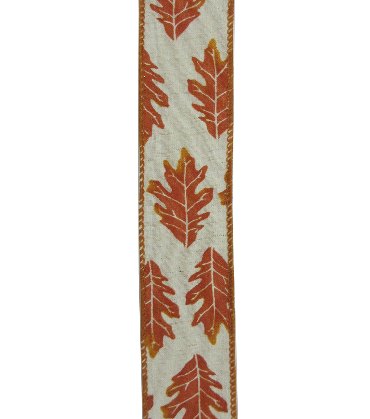 Simply Autumn Ribbon 1.5\u0027\u0027x12\u0027-Orange Leaf on Ivory
