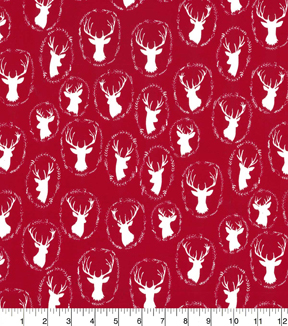 Quilter\u0027s Showcase Cotton Quilt Fabric 44\u0022-Deer Head Red