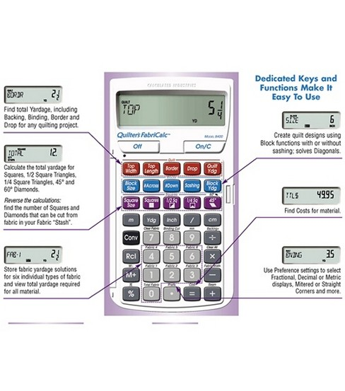 Calculated Industries Quilter\u0027s FabriCalc Design & Fabric Calculator