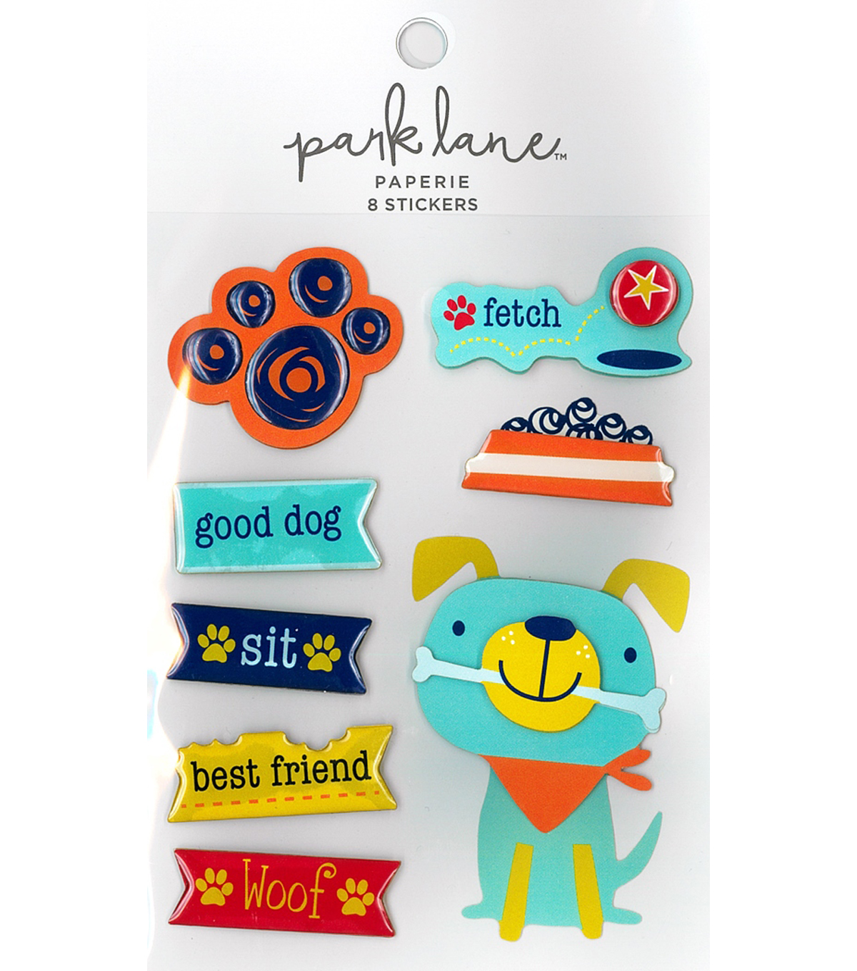 Park Lane Paperie 8 pk Stickers-I Heart My Dog Paw Prints