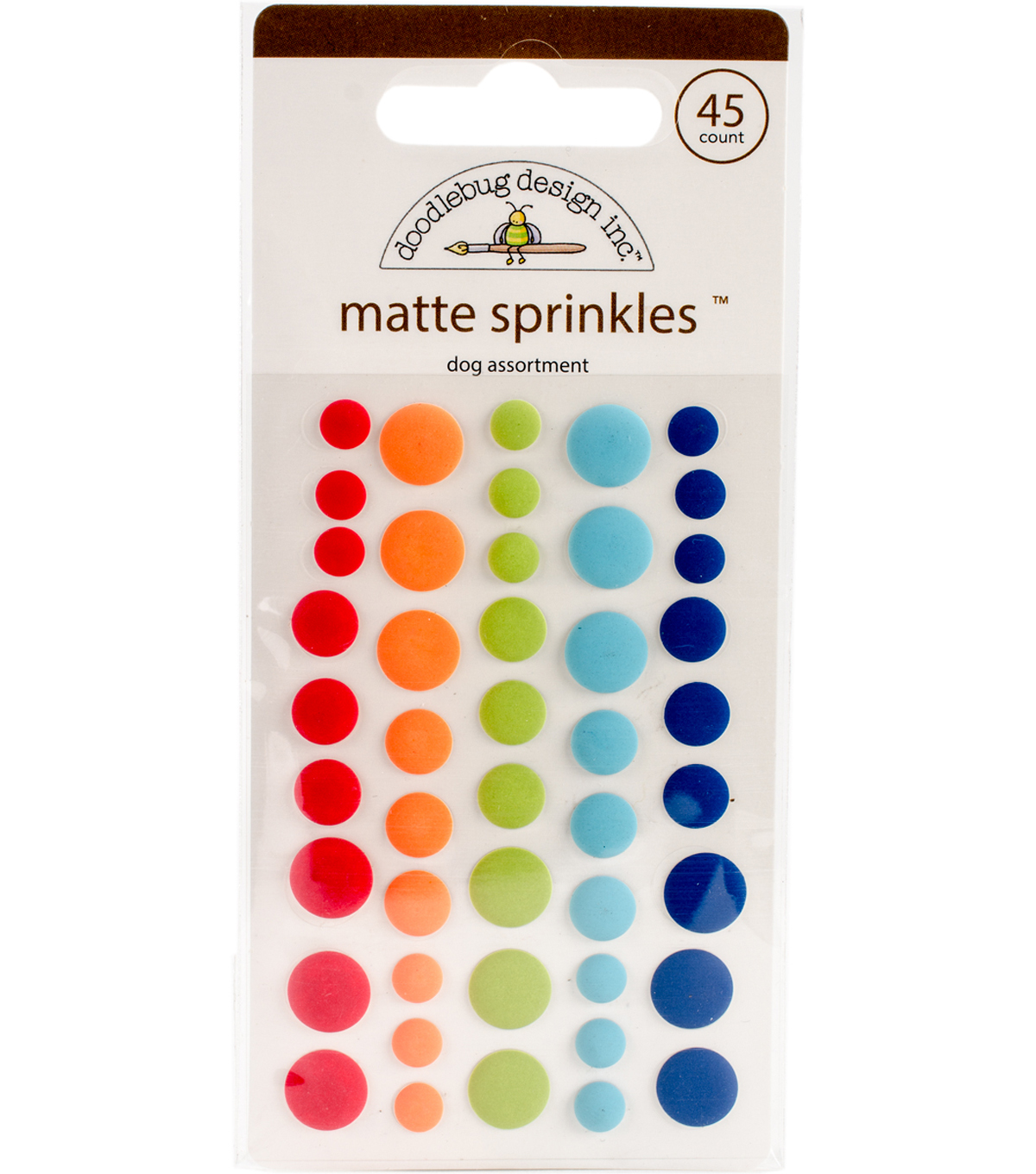 Doodlebug Sprinkles Adhesive Matte Enamel Dots-Dog Assortment