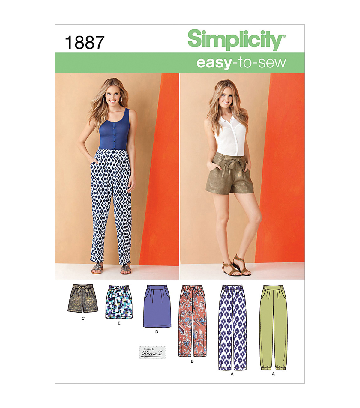 Simplicity Patterns Us1887K5-Simplicity Misses Skirts Pants-8-10-12-14-16