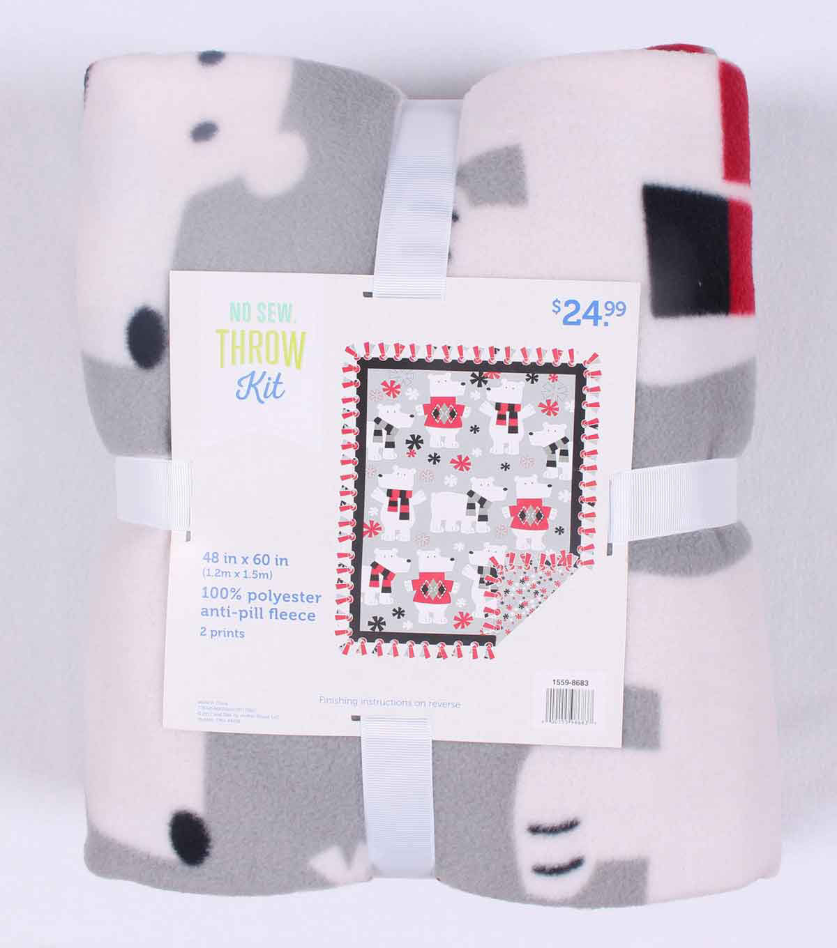 No Sew Fleece Throw 48\u0022-Polar Bears In Sweaters