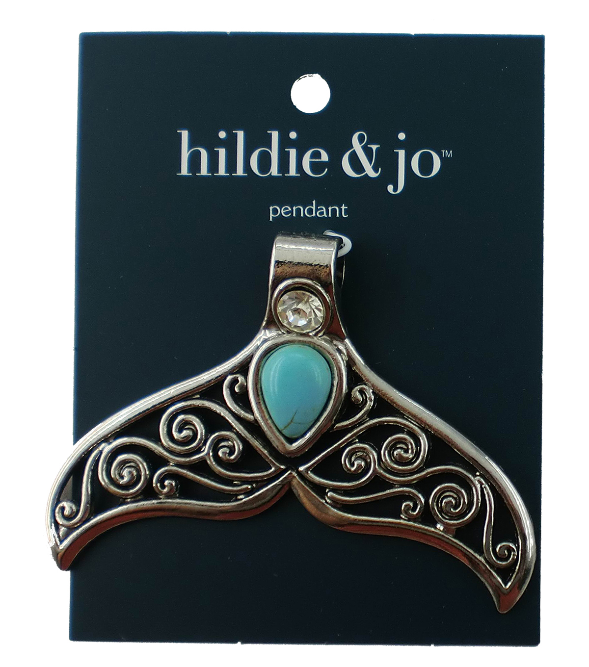hildie & jo Fish Tail Pendant with Turquoise Stone-Silver