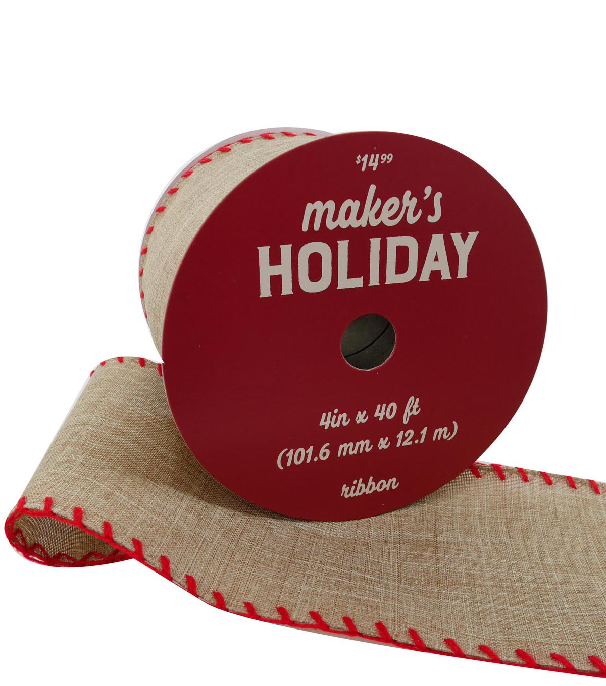 Maker\u0027s Holiday Christmas Ribbon 4\u0027\u0027x40\u0027-Natural with Red Stitched Edge