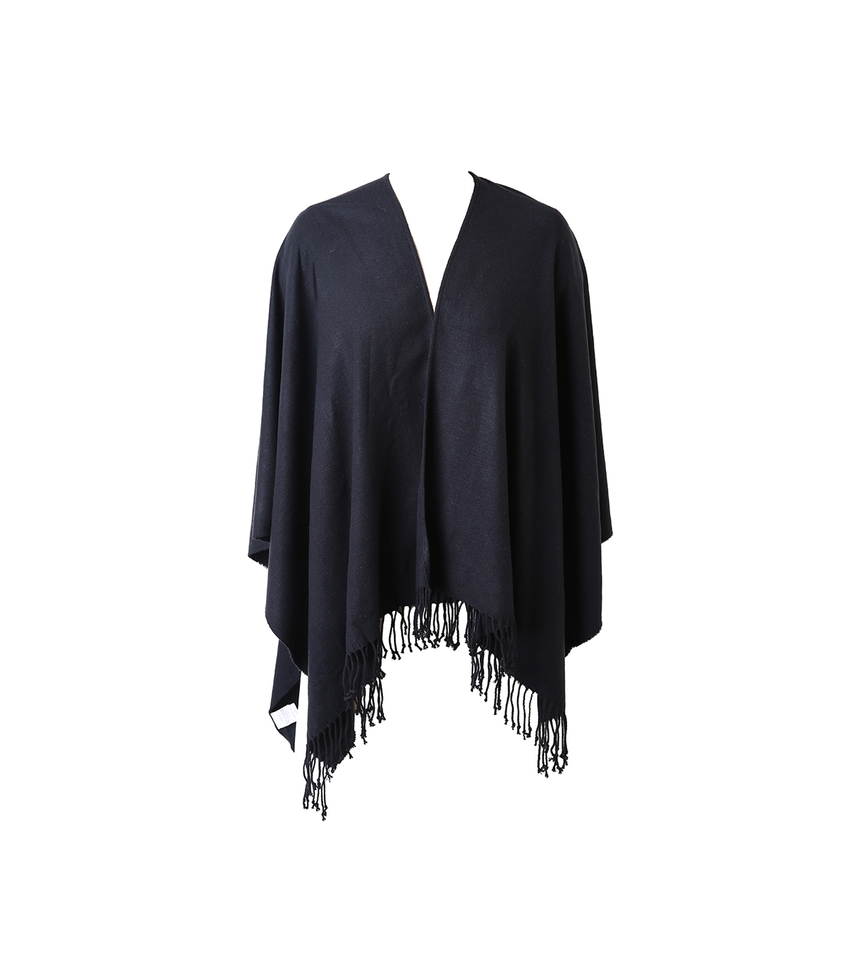 Plaid Poncho-Black