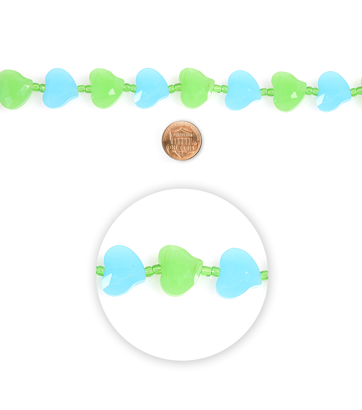 Blue Moon Beads Glass Bead Hearts Faceted Green Blue