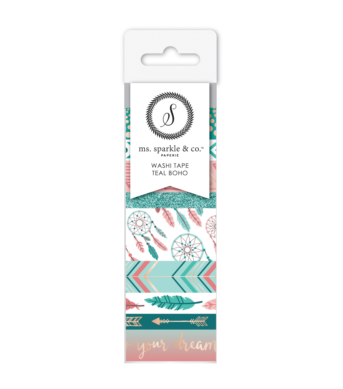 Ms. Sparkle & Co. 9 pk Washi Tapes-Teal Boho