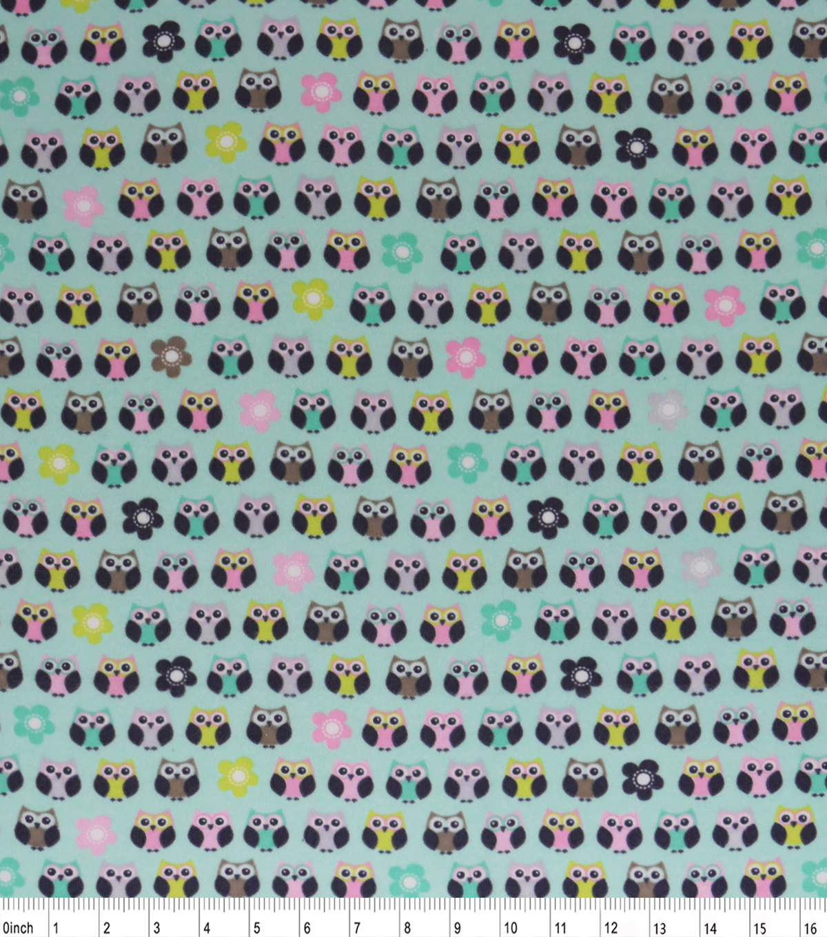 Snuggle Flannel Fabric -Print Pastel Owls And Flowers