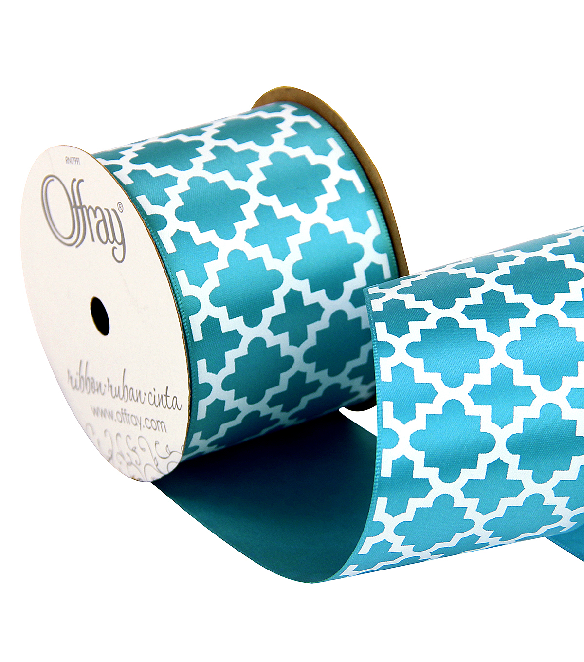Offray 2.25\u0022 x 9\u0027 Geo Ribbon-Blue/White
