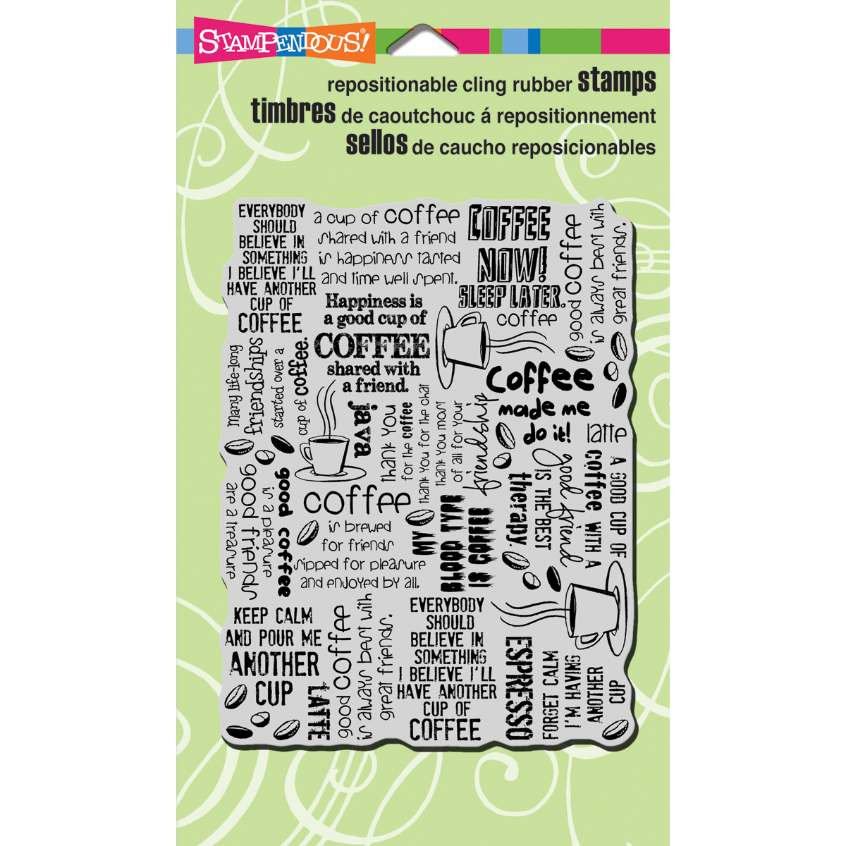 Stampendous Cling Rubber Stamp Coffee Background