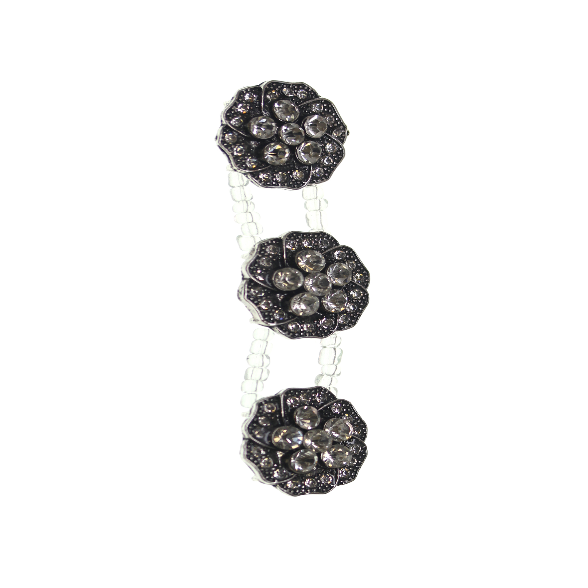 Crystal Silver Flower Slider