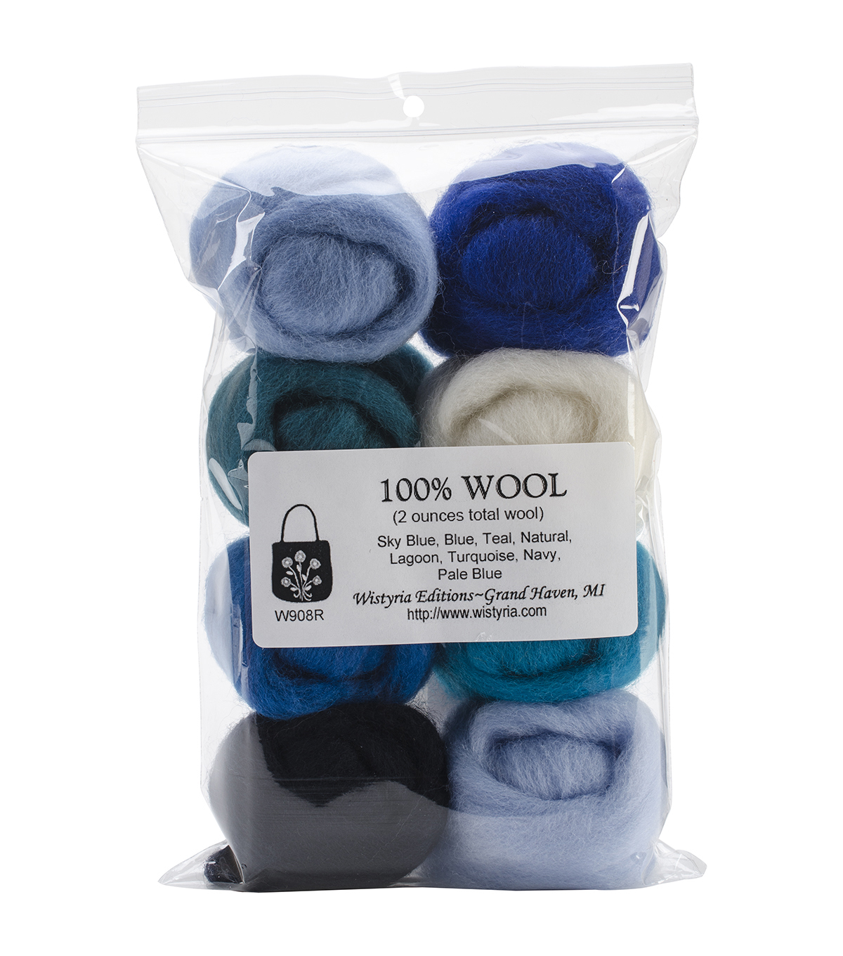 Wistyria Editions The Bouquet Wool Roving Yarn, The Sea