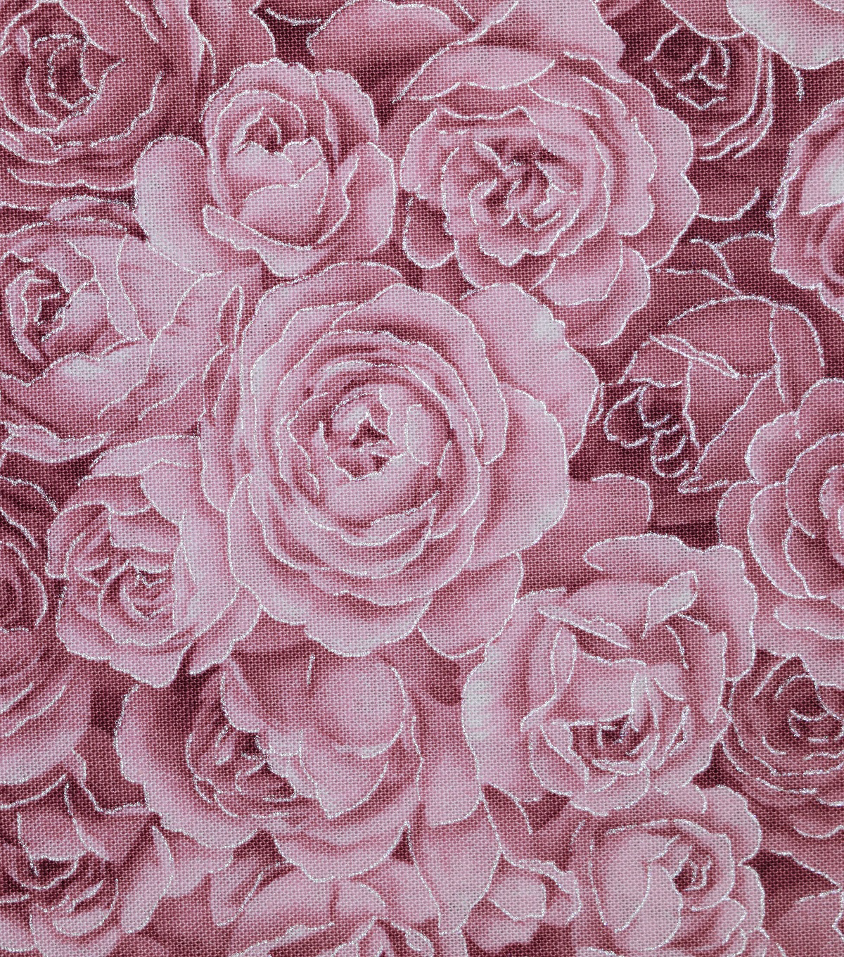 Premium Cotton Fabric-Metallic & Burgundy Tonal Roses