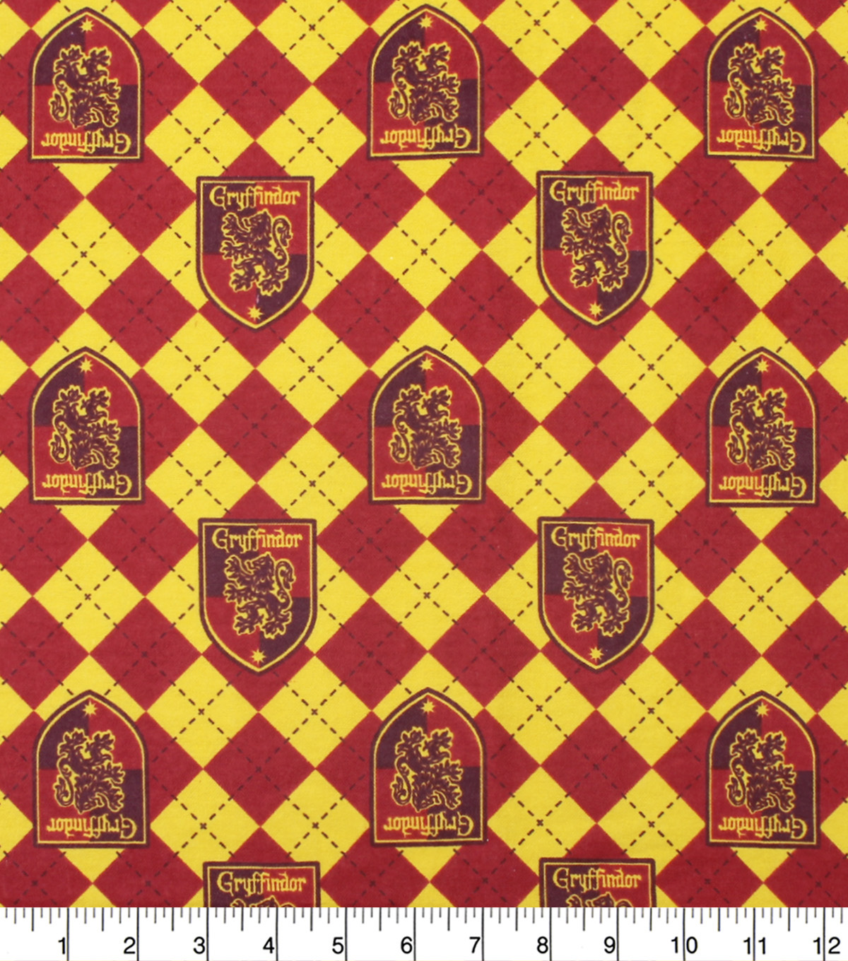 Harry Potter Flannel Fabric Gryffindor On Argyle