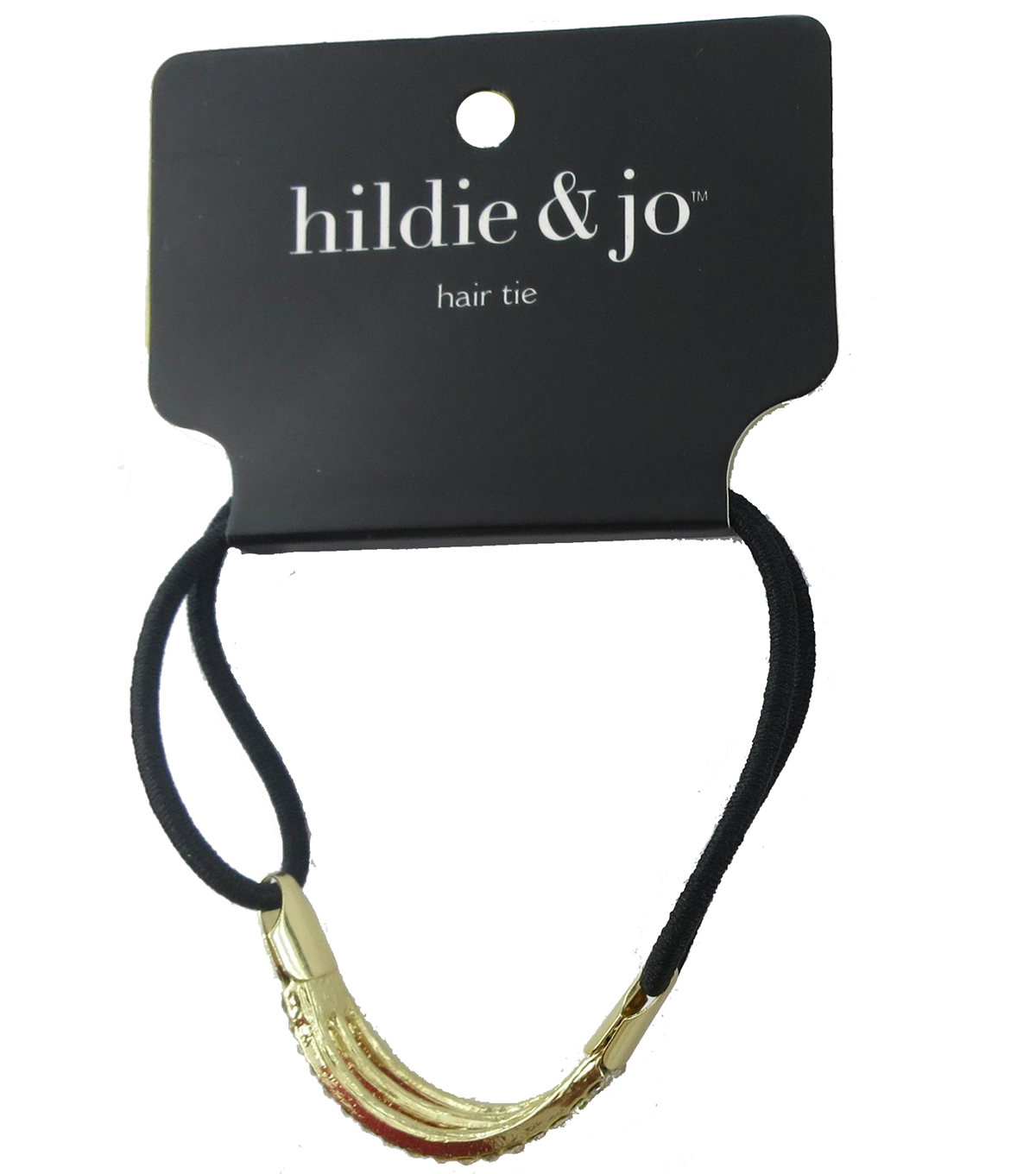 hildie & jo Black Hair Tie-Gold Charm with Clear Crystals