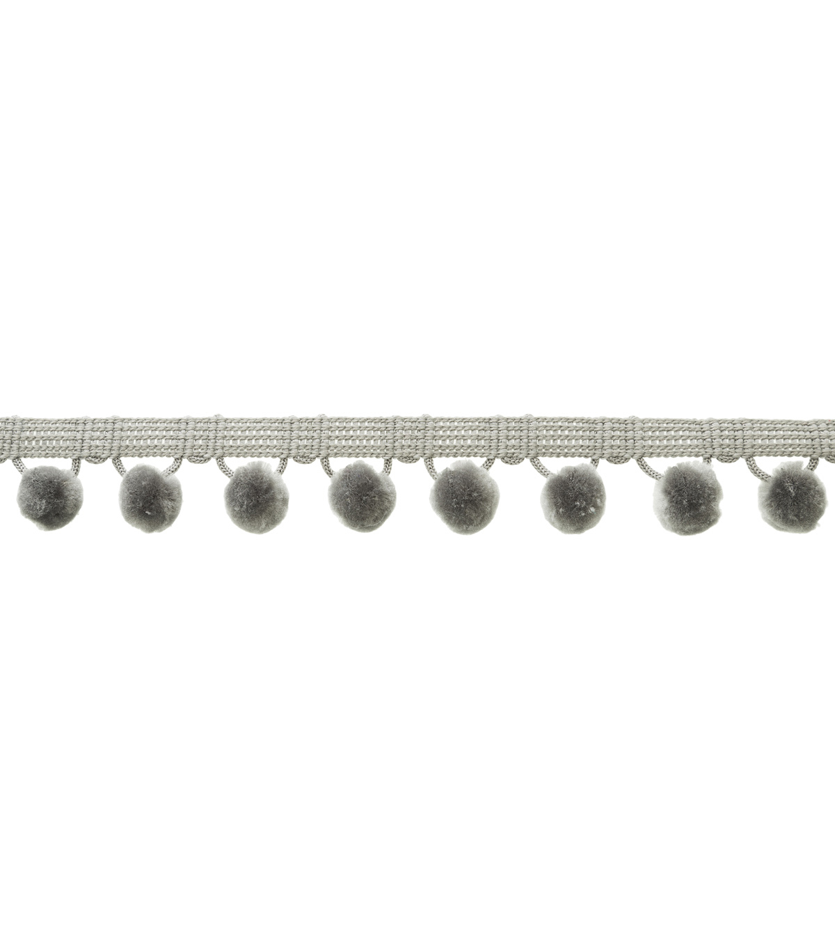 Wrights Ball Fringe Trim-Gray