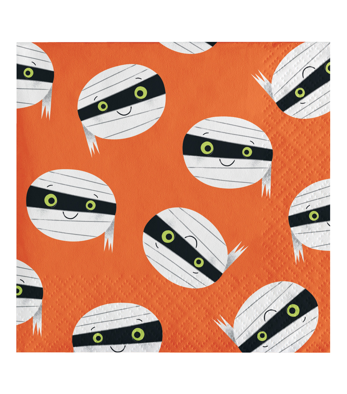 Maker\u0027s Halloween 20 pk 5\u0027\u0027x5\u0027\u0027 Beverage Napkins-Mummy Faces