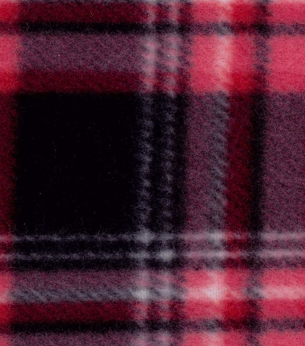 Blizzard Fleece Fabric -Red Black Plaid