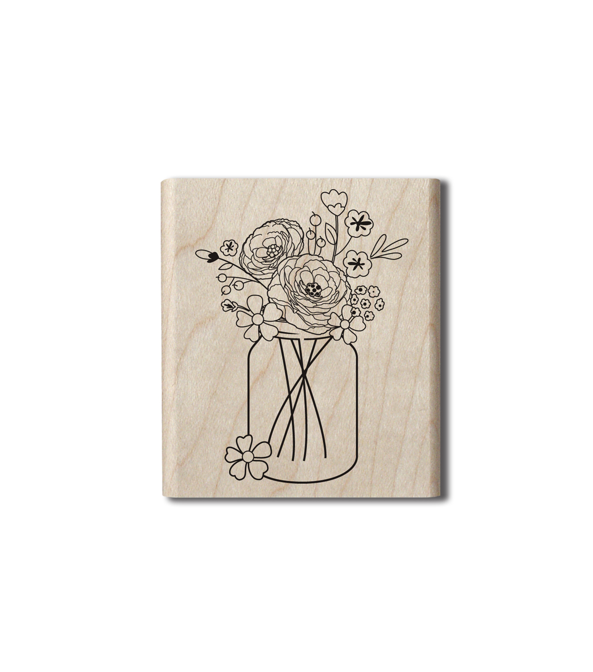 Hampton Art Wood Stamp-Mason Jar Bouquet