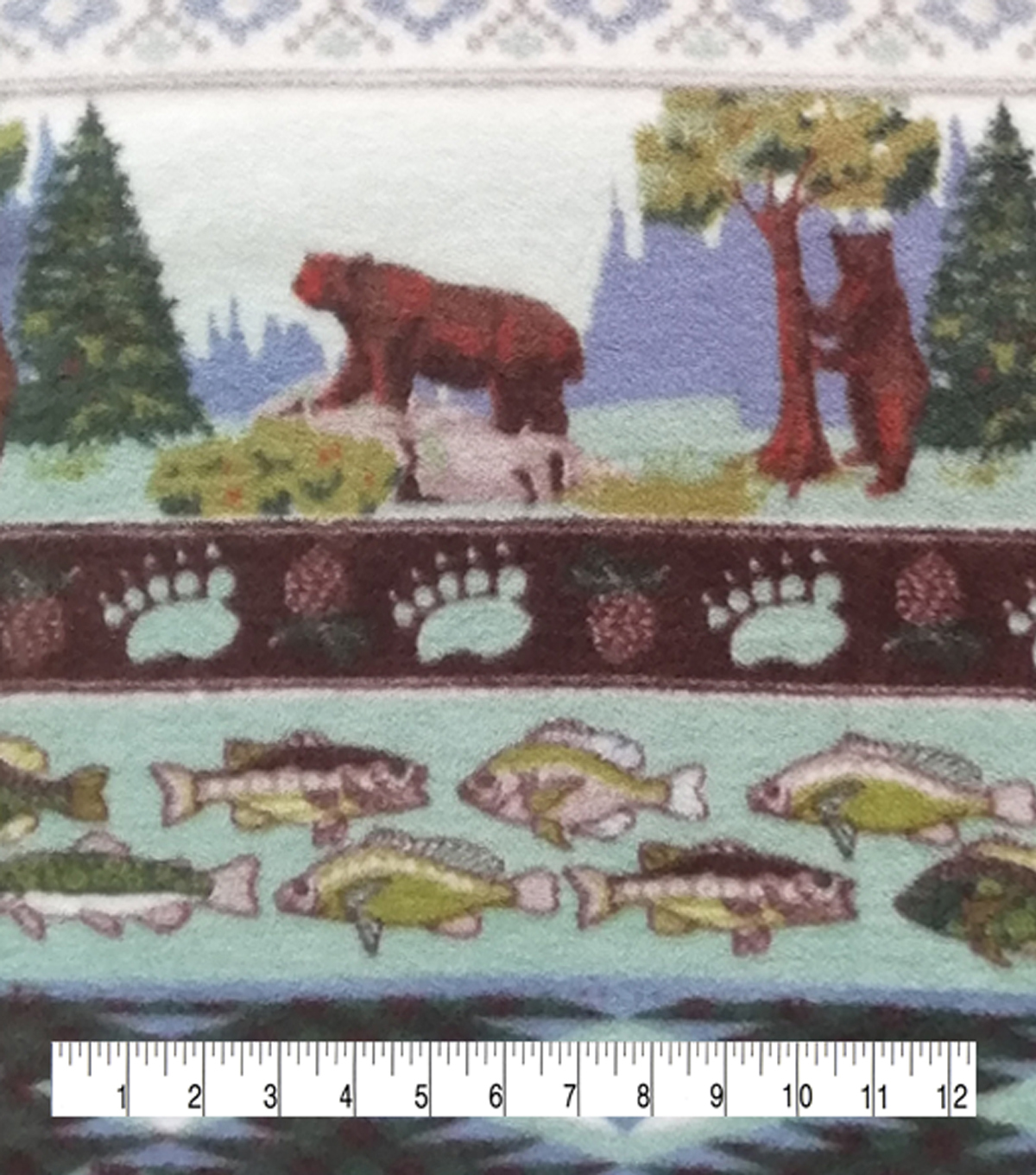 Anti-Pill Plush Fleece Fabric-Forest Bear Stripe