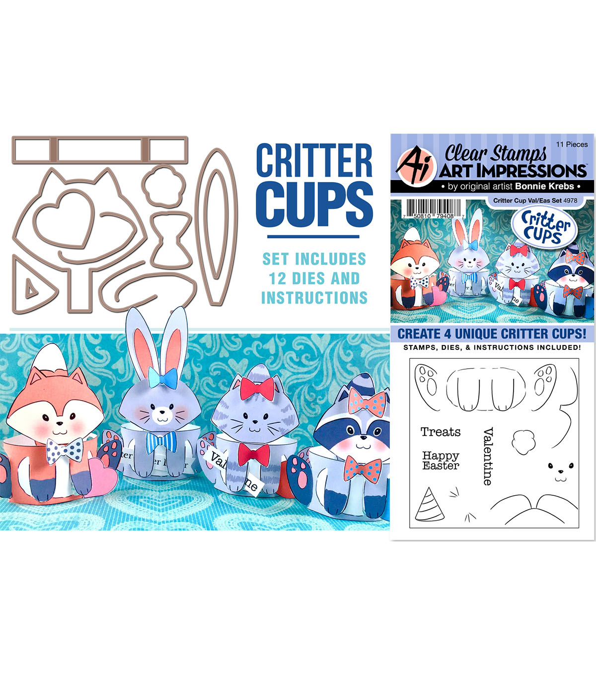 Art Impressions Critter Cups Valentines & Easter Stamp & Die Set
