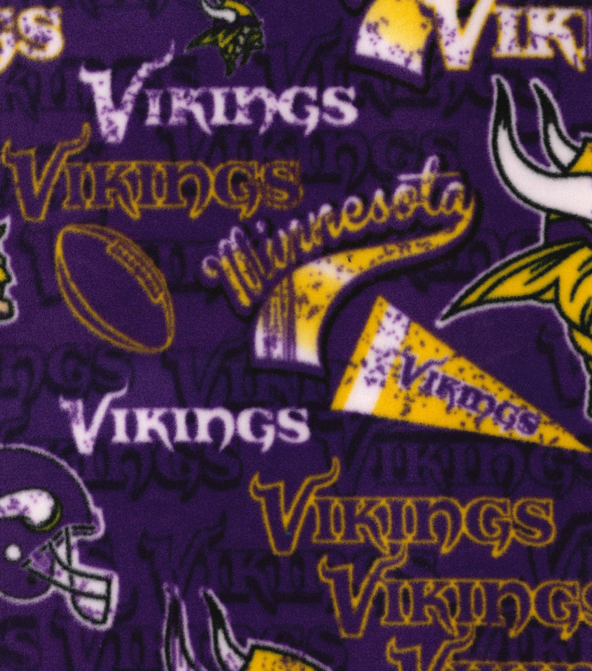 Minnesota Vikings Fleece Fabric -Retro