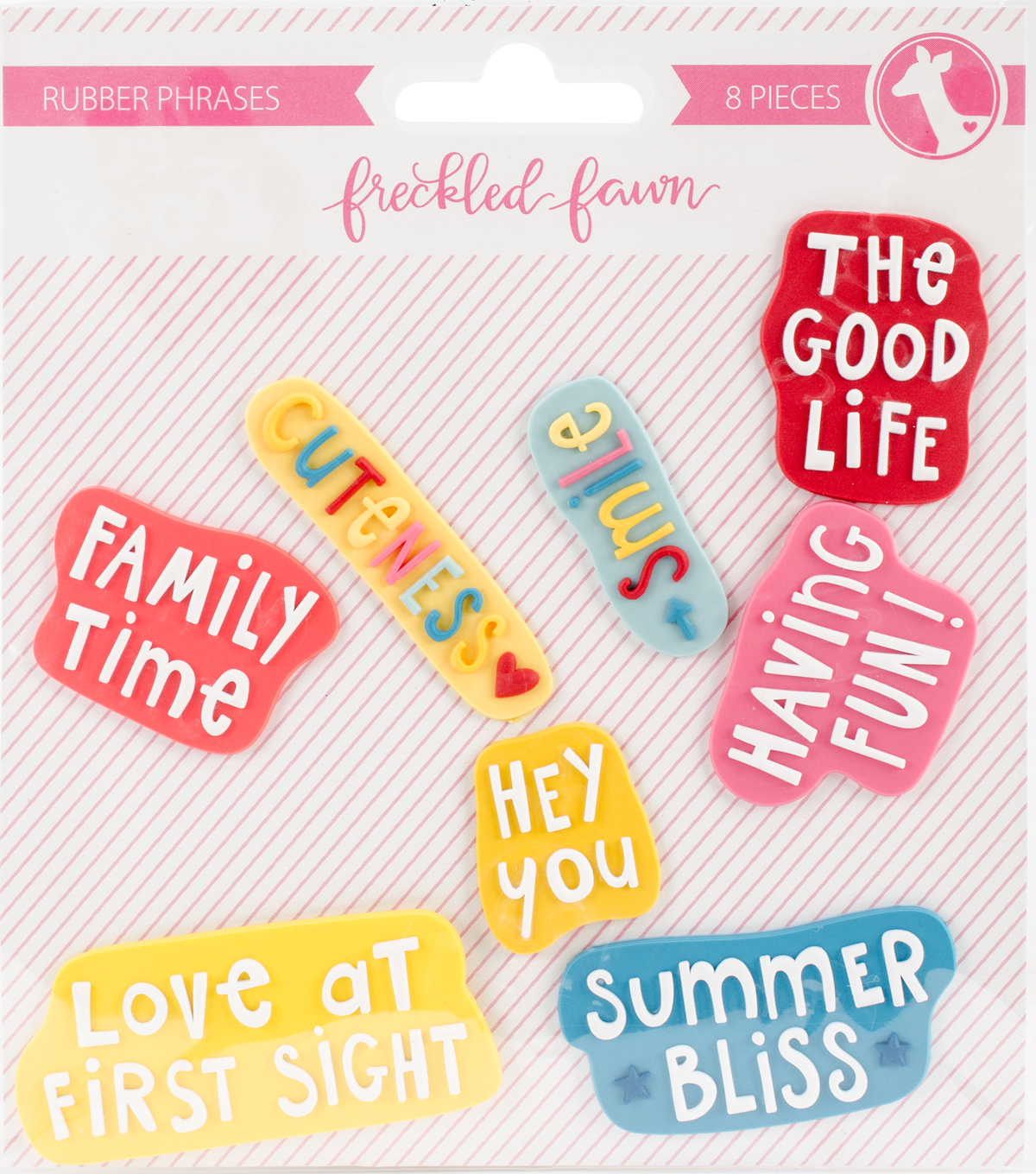 Freckled Fawn 8 pk Rubber Shapes-Doodle Phrase