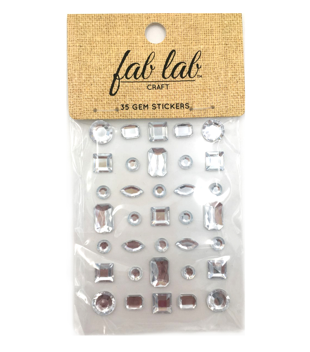 Adhesive Jewels Clear Geometric Shaped Crystals, 35pc.