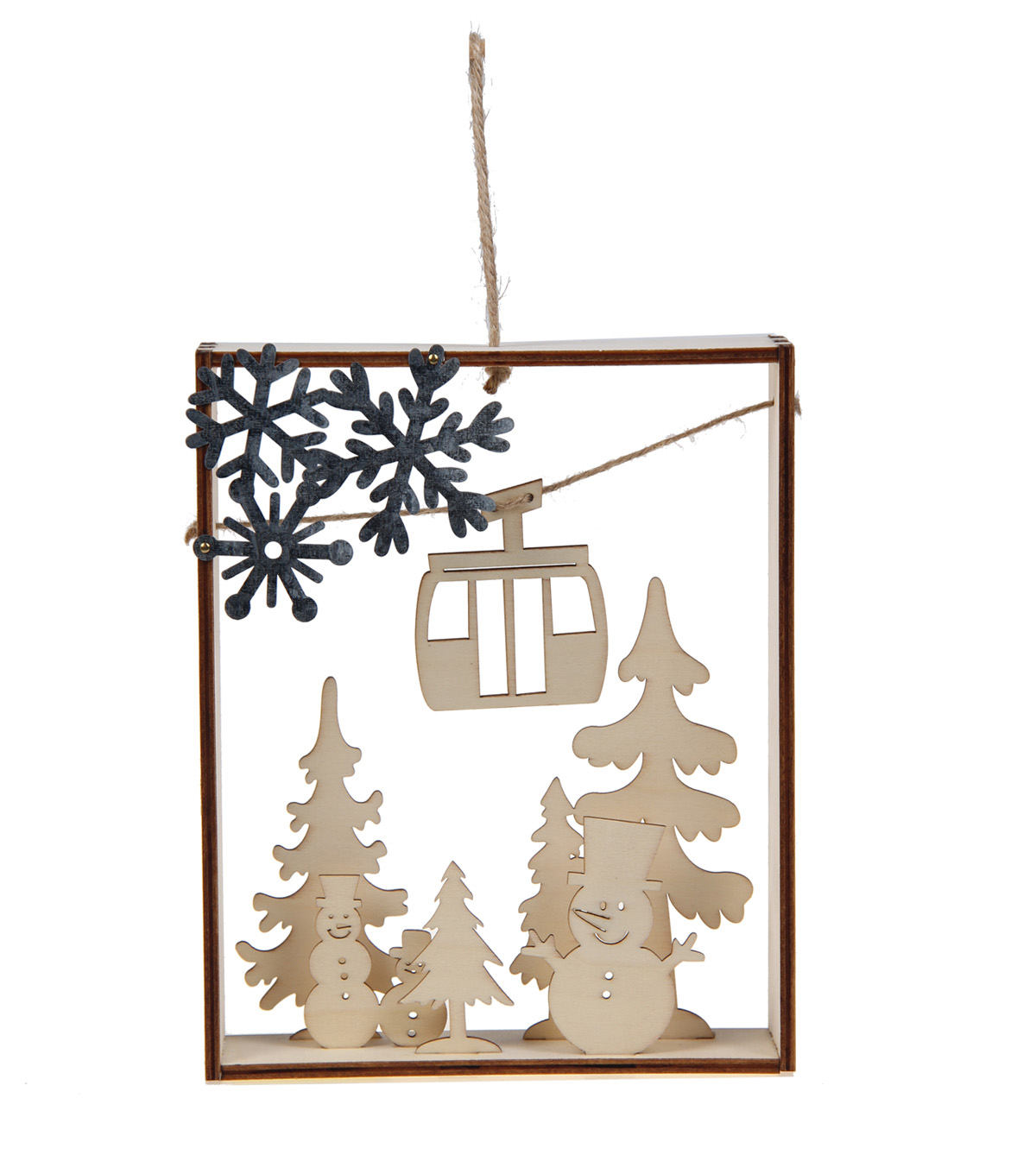 Maker\'s Holiday Craft Christmas Unfinished Wood 3D Ski Lift Scene ...