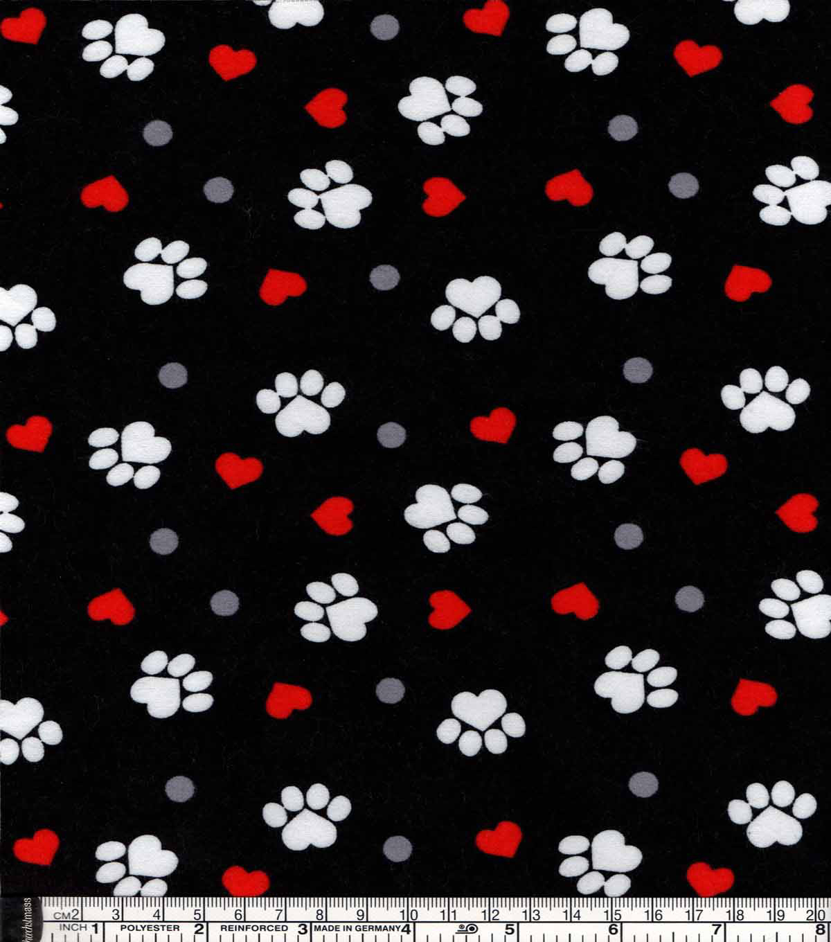 Snuggle Flannel Fabric -Paw Prints And Hearts On Black
