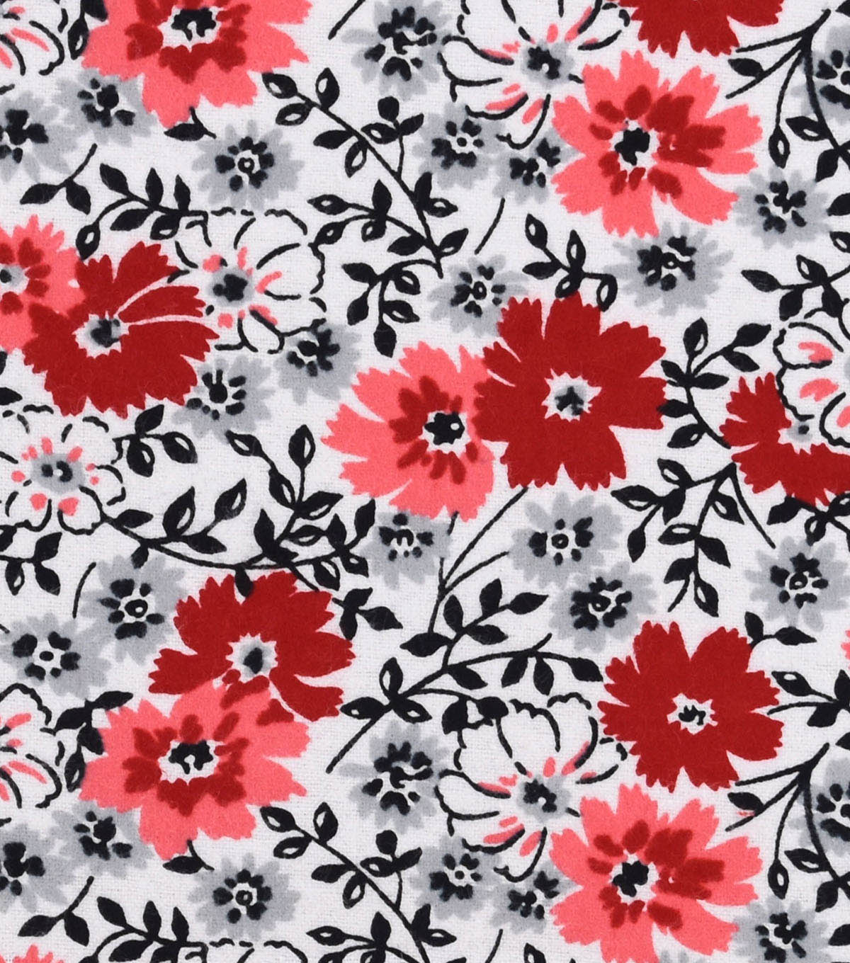Snuggle Flannel Fabric 42\u0022-Red Gray Black Floral