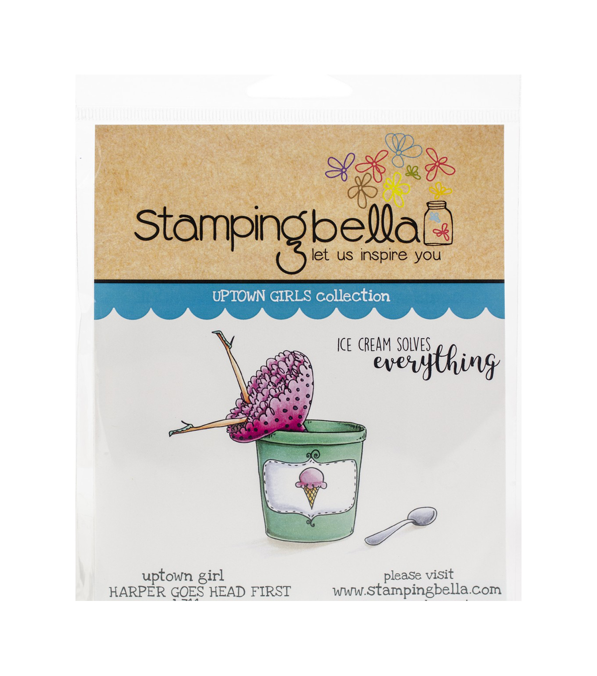 Stamping Bella Rubber Cling Stamps-Uptown Girl Harper Goes Head First