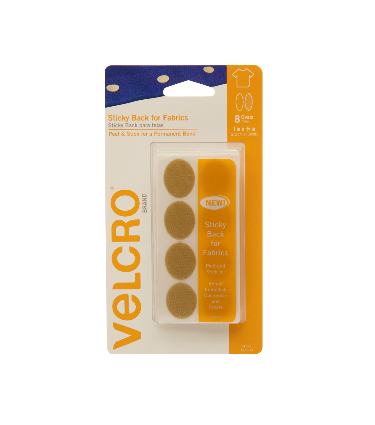 VELCRO Brand Sticky Back for Fabrics,1 in x 3/4 in ovals, beige, 8sets