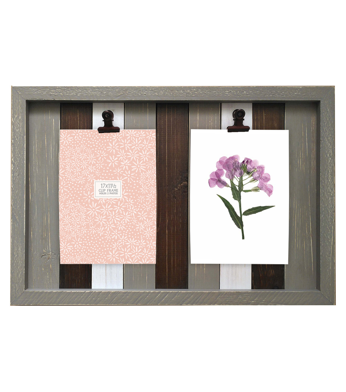Wood & Metal Collage Frame Plank with Double Clip 17\u0027\u0027x11.5\u0027\u0027-Multicolor