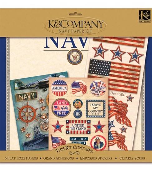 K&Company Military Scrap Kit 12\u0022x12\u0022 Layouts-Navy